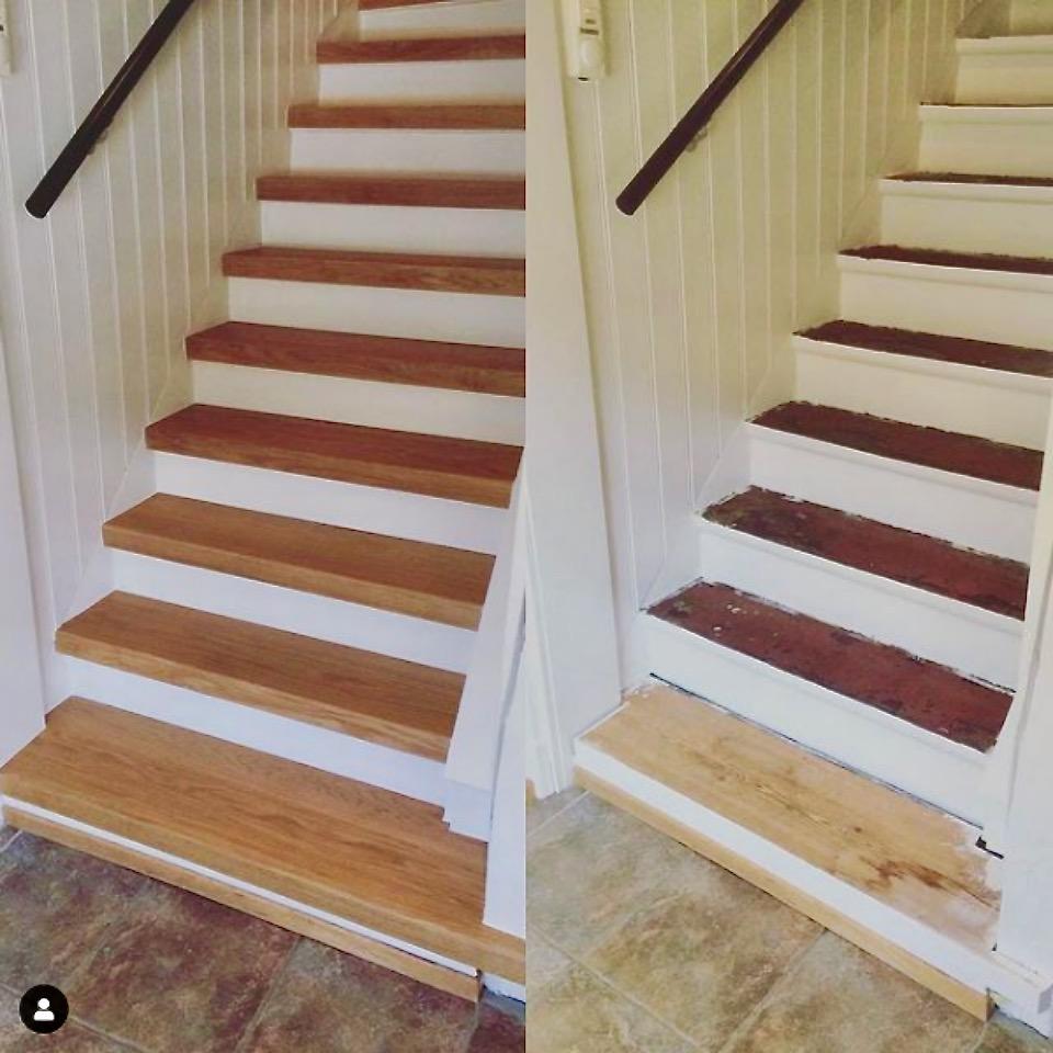 Stängd trappa med steg i ek helstav