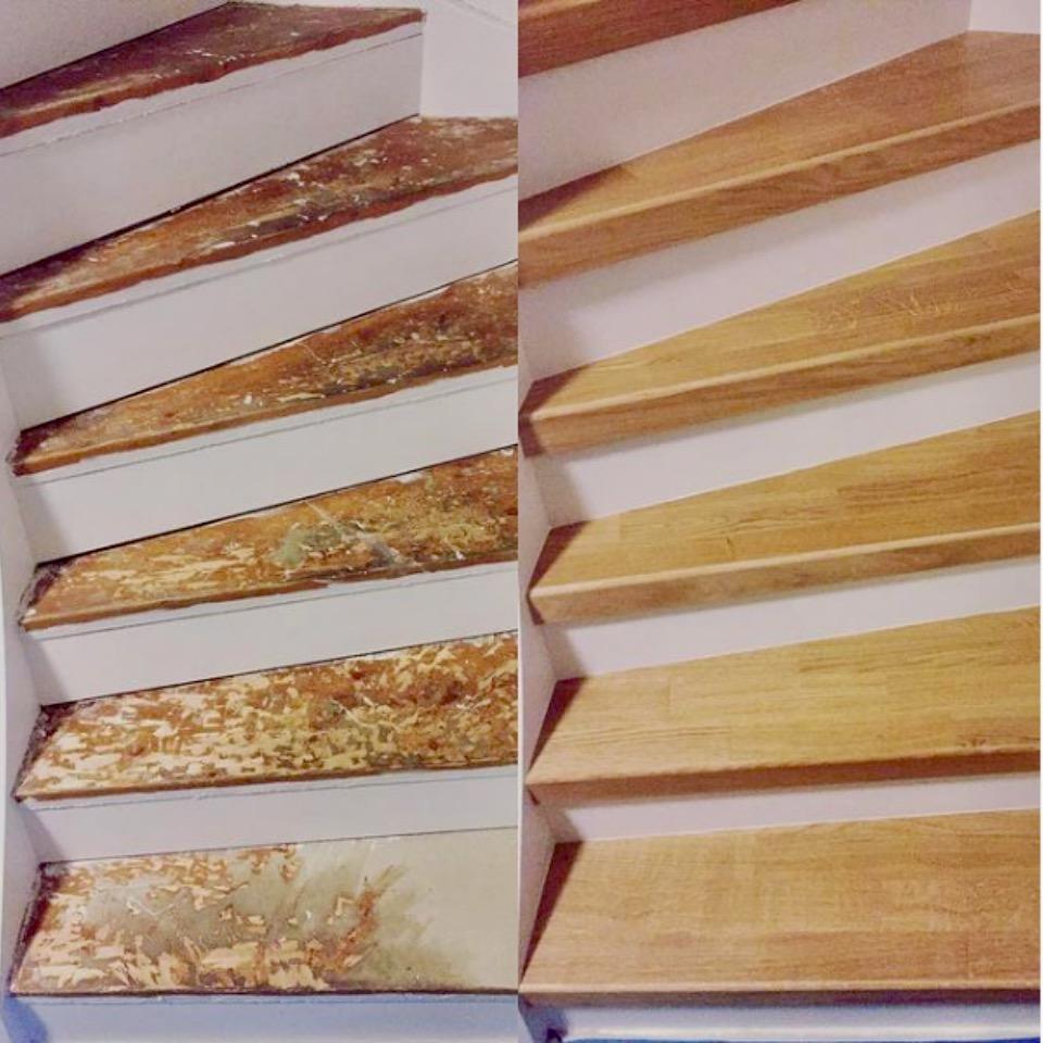 Stängd trappa med steg i ek 3-stav
