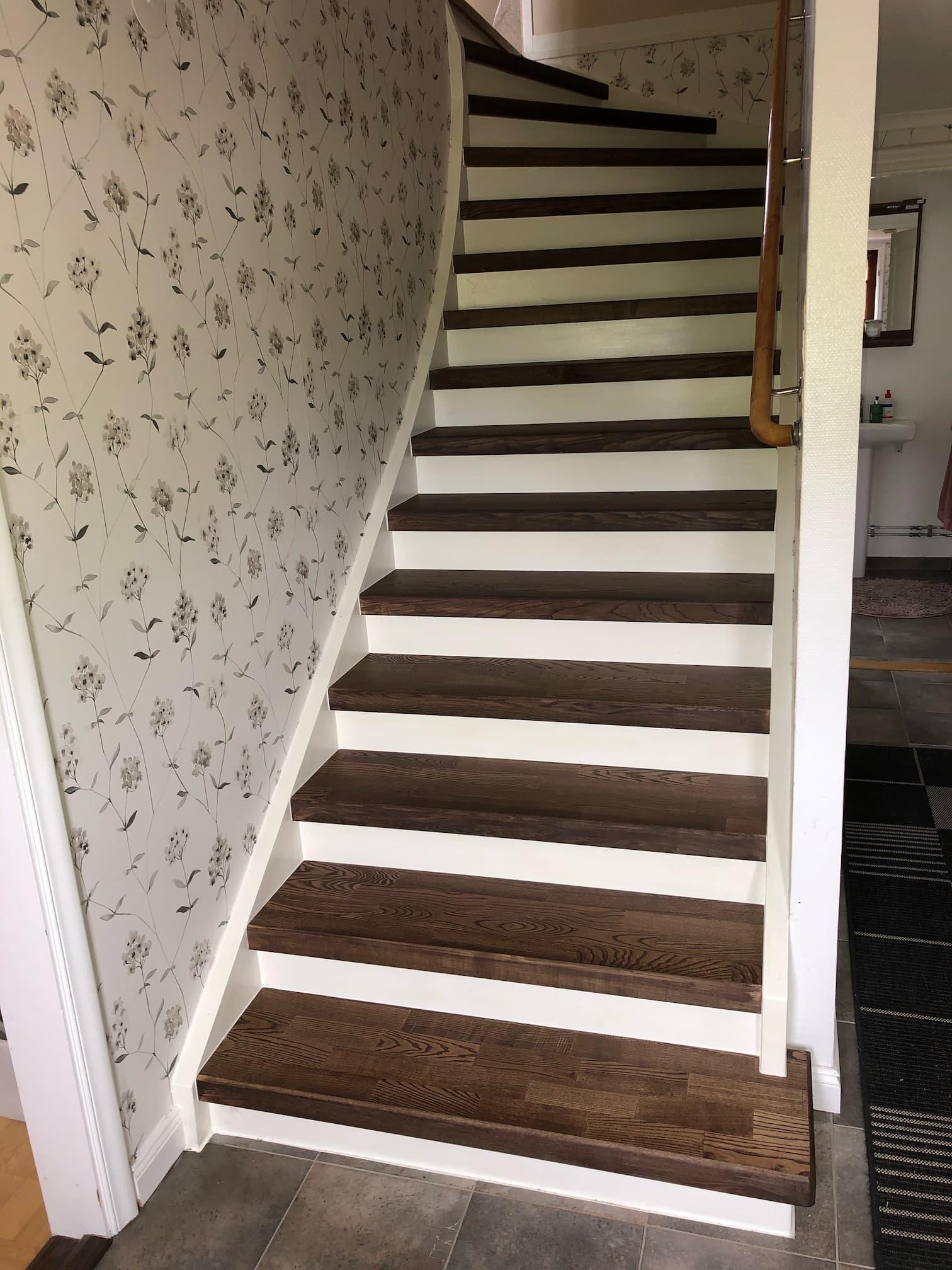 Stängd trappa med steg i mörk ask